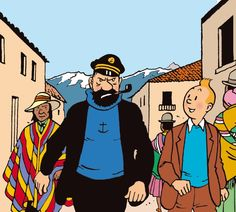 """Captain Haddock & Tintin marches through the streets of Callao, Peru, in """"Prisoners of the Sun"""". Comic Book Characters, Comic Character, Disney Characters, Fictional Characters, Character Design, Bd Comics, Funny Comics, Haddock Tintin, Captain Haddock"""