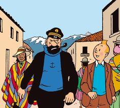 "Captain Haddock marches through the streets of Callao, Peru, in search of his friend Professor Calculus, in ""Prisoners of the Sun""."