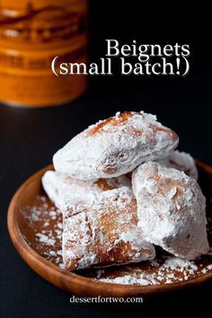 Beignets Recipe small batch recipe: Beignets, a small batch recipe. A taste of Cafe du Monde New Orleans beignets at home! Recipe makes just 8 small beignets. Köstliche Desserts, Delicious Desserts, Dessert Recipes, Donut Recipes, Brunch Recipes, Bread Recipes, Dessert For Two, Eat Dessert First, Dinner Dessert