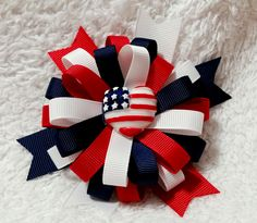 Flower Loop Hair Bow - Stacked Loopy Hair Bow, Fourth of July Hair Bow