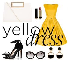 """""""little yellow dress"""" by foxtheimer on Polyvore featuring Boohoo, New Look, Prada, Warehouse and Gucci"""