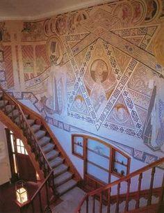 Henry van de Velde - staircase in villa De Zeemeeuw, Scheveningen, The Netherlands - wallpainting by Johan Thorn Prikker and Johan Altorf