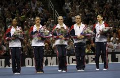 The members of the U.S. Women's Olympic gymnastic team are announced, from left, Gabby Douglas, Aly Raisman, McKayla Maroney, Jordyn Wieber, and Kyla Ross, at the women's Olympic gymnastic qualifying trials in San Jose, Calif., Sunday, July 1, 2012. Photo: Sarah Rice, Special To The Chronicle / SF