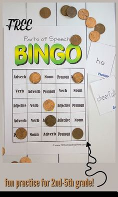 FREE Parts of Speech BINGO for Homeschool Language Arts - This free printable game for - grade helps kids learn about nouns, verbs, pronouns, adverbs, and adjectives. Parts Of Speech Games, Parts Of Speech Worksheets, Free Worksheets, Verb Games, Grammar Games, Articulation Games, Adjectives Activities, Grammar Activities, Homeschool