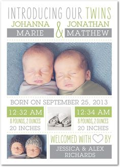 Twin Introduction: Meadow - Twins Photo Birth Announcements in Meadow | Magnolia Press
