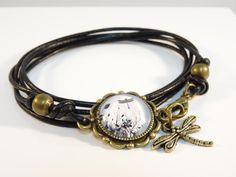 """Wickelarmbänder - Wickelarmband """"Libellenwiese"""" aus Leder - ein Designerstück…"""