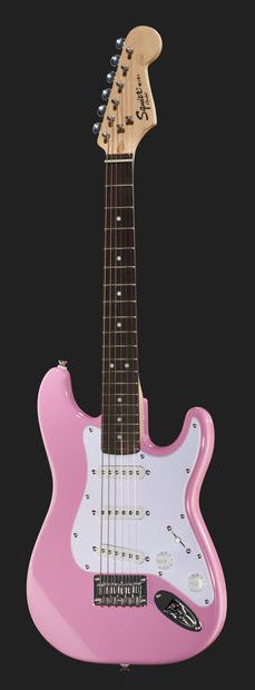 So sweet! :-) Fender Squier Strat Mini pink - Thomann www.thomann.de #fender #strat #stratocaster #pink #mini #guitar #sweet #girls