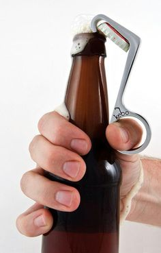 One-handed bottle opener.