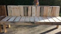 Homemade pallet bench with wood burning!