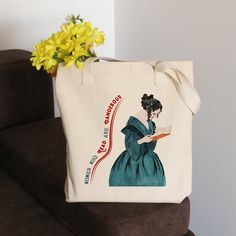 Feminist Tote Bag, Christmas Gift, Book Lover Gift for Her, Organic Tote Bag, Natural Cotton Tote Ba Book Lovers Gifts, Book Gifts, Gift For Lover, Cotton Tote Bags, Reusable Tote Bags, Free Poster Printables, Gifts For Librarians, Library Bag, Christmas Bags