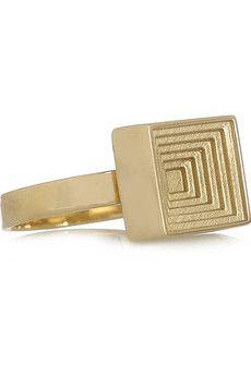 Solange Azagury-Partridge Square Spinner 18-karat gold ring