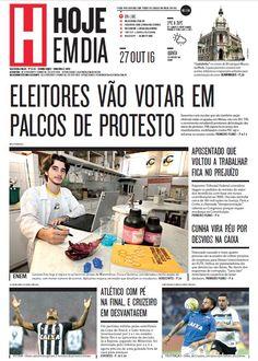 Capa do dia 27/10/2016 #HojeEmDia #Jornal #Notícias #News #Newspaper