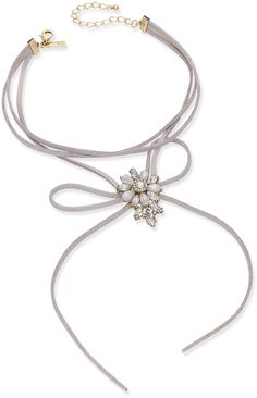 INC International Concepts Gold-Tone Crystal and White Stone Flower Gray Velvet Tie Choker Necklace, Created for Macy's