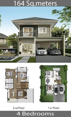 M – Home Ideassearch Single Detached House 164 Sq.M – Home Ideassearch Image Size: 640 x 1056 Source 2 Storey House Design, Duplex House Design, Simple House Design, House Front Design, Cool House Designs, House Layout Plans, House Layouts, House Floor Plans, Bungalow Haus Design