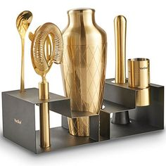VonShef Brushed Gold Etched Parisian Cocktail Shaker Barware Set, with Recipe Guide, Includes Twisted Bar Spoon, Hawthorne Strainer, Ounce and 1 Ounce Measuring Jigger and Wooden Muddler Barista, Cocktail Glassware, Bar Spoon, Bar Cart Styling, Gold Kitchen, My Bar, Bar Accessories, Bar Tools, Cocktail Shaker