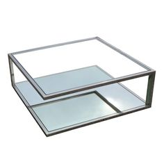 Fantastic Angular Modernist Square Chrome and Glass Table | From a unique collection of antique and modern coffee and cocktail tables at https://www.1stdibs.com/furniture/tables/coffee-tables-cocktail-tables/