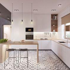 Cozinha para inspirar ✨ Linhas retas, delicadeza e fluidez