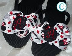 black and red flip flop bows
