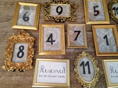 Gold frame shabby chic wedding table numbers by ShopNiminyPiminy