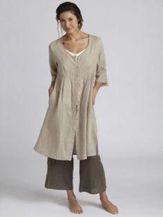 flax duster khaki - lovely...but would want to wear long linen trousers with this lovely long top...