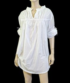 """Puckered White Cotton """"Adjustable"""" Tunic Top Beach Cover-Up S~~SO CABO VACAY!~~ #ResortLine #Tunic"""