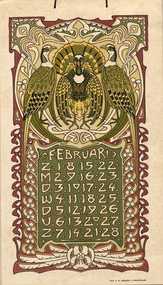 1903 art nouveau calendar by L. Visser.