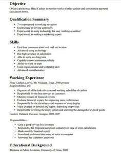 Cashier Job Description Resume Are Really Great Examples Of Resume And  Curriculum Vitae For Those Who Are Looking For Job.