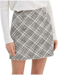 Women, MARCELLE WRAP MINI SKIRT A Line Mini Skirt, Mini Skirts, Tweed Fabric, Plaid Skirts, David Jones, Tartan Plaid, Size 14, Sequin Skirt, Model