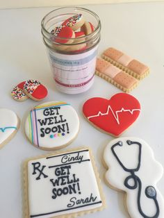 """""""Get well soon"""" cookies - bandaids, stethoscopes, Rx pad, pill cookies, heart with sinus rhythm cookies - by sarah godlove"""