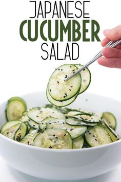 This Japanese cucumber salad is the right bit of tangy and sweet goodness. So si… This Japanese cucumber salad is … Salad Recipes Healthy Lunch, Cucumber Recipes, Salad Recipes For Dinner, Chicken Salad Recipes, Easy Salads, Sushi Recipes, Side Dish Recipes, Asian Recipes, Side Dishes