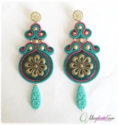 Handmade soutache earrings green turquoise and pink by 75marghe75