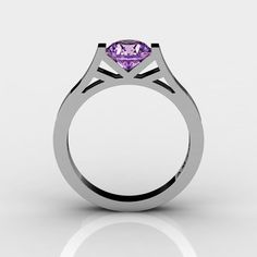 Modern 14K White Gold 1.0 Ct Luxurious Engagement Ring or Wedding Ring with an Amethyst Center Stone R667-14KWGAM-1