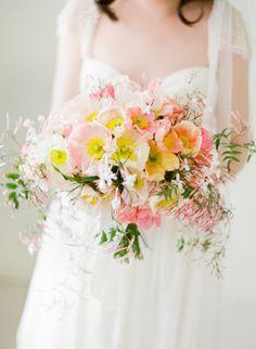 Delicate pastel poppy bouquet