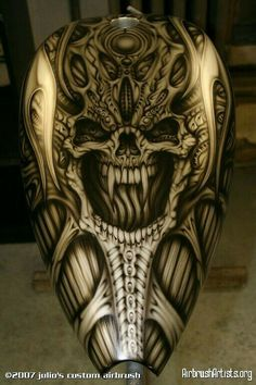 Image titled 'chopper tank demons' posted by Julio S Custom Airbrush to gallery page 'julio's custom airbrush' on Custom Motorcycle Paint Jobs, Custom Paint Jobs, Custom Motorcycles, Air Brush Painting, Car Painting, Custom Tanks, Motorcycle Tank, Custom Airbrushing, Bike Design