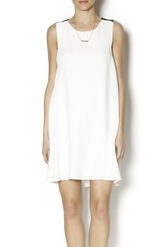 Classic white shift dress with contrasting black straps.   White Shift Dress by C. Luce. Clothing - Dresses - Mini New Jersey