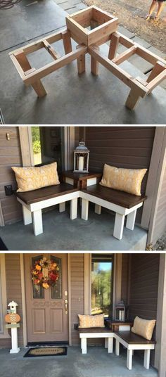 12 Creative DIY Corner Bench With Built-in Table Decor For Small Spaces – Runn. - 12 Creative DIY Corner Bench With Built-in Table Decor For Small Spaces – RunningAble Home Ideas - House Design, Home Projects, Diy Furniture, Farmhouse Decor, Decorating Small Spaces, Porch Decorating, New Homes, Home Decor, Diy Decor Projects