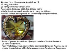 Beaded bezel for a heart shaped Swarovski crystal 40mm