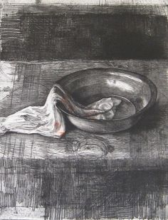 Safet Zec, (Bosnian artist, b.1943): [tin basin with cloth].