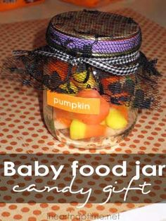 Use your old jars to put candy in. Just tie some lace and ribbon on top and you've got a super cute gift!