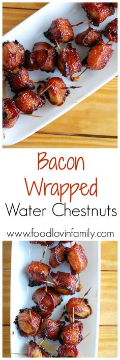 Water chestnuts wrapped in bacon with the most delicious sauce drizzled over top. Water chestnuts wrapped in bacon with the most delicious sauce drizzled over top. These bacon wrapp Bacon Wrapped Appetizers, Appetizers For A Crowd, Finger Food Appetizers, Holiday Appetizers, Appetizers For Party, Finger Foods, Appetizer Recipes, Holiday Recipes, Appetizer Ideas