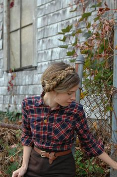 """braid and plaid!  <3  and I would undo another button (or 2) on the chest to look less """"sister wife"""".  (and no tucking in and belt.  This is jeans territory!)"""
