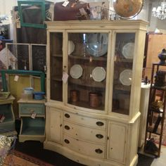 Bassett china cabinet painted in old white ASCP