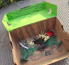 bug habitat from shoebox Insect Crafts, Bug Crafts, Diy And Crafts, Shoebox Crafts, Summer Crafts For Kids, Classroom Inspiration, Educational Activities, Summer Activities, Shoe Box