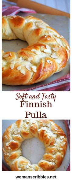 Finnish Pulla Bread – Woman Scribbles Finnish Pulla is a celebration bread braided beautifully like a wreath. It gets its nice flavor from the cardamom and it is adorned with crunchy almonds as finishing on top. Muffin Recipes, Bread Recipes, Baking Recipes, Breakfast Recipes, Eat Breakfast, Cookie Recipes, Finnish Recipes, Braided Bread, Scandinavian Food