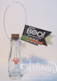 Happy BOO to you message-in-a-bottle - September project - created by Jane Lee http://janeleescards.blogspot.com