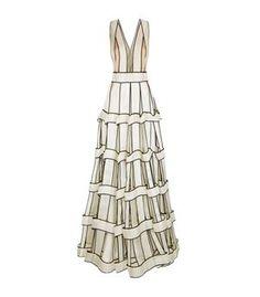 Jenny Packham Contrast Trim Lattice Gown