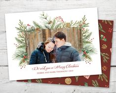 Christmas Pine Photo Card, Watercolor Christmas Cards with Photo PRINTABLE, Photo Holiday Cards, Photo Cards Christmas, Holiday Cards Photo Watercolor Christmas Cards, Christmas Photo Cards, Holiday Cards, Christmas Holidays, 2nd Birthday Invitations, Christmas Printables, Pine, Christian Christmas Cards, Christmas Vacation
