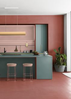 Industrial Home Design, Industrial House, Pastel Decor, Terracota, Kitchen Dinning, Cuisines Design, Florida Home, House Colors, Colorful Interiors