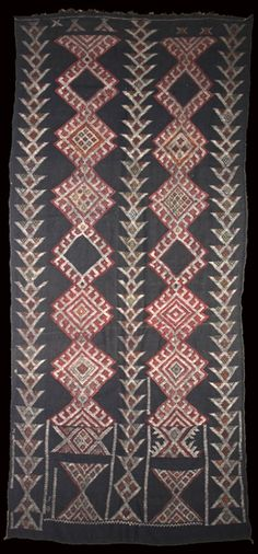Africa | Beni M'Guild wall tent kilim. Middle Atlas Mountains. Morocco |  Circa 1930 | 392 x 184cm.