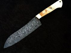 HANDMADE, DAMASCUS steel CHEF KNIFE new ( 2mm ) thick WITH CAMEL BONE HNDLE #HANDMADE